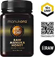 Manukora UMF 10+/MGO 265+ Raw Mānuka Honey (500g/1.1lb) Authentic Non-GMO New Zealand Honey, UMF & MGO Certified, Traceable from Hive to Hand …