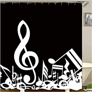 Gnzoe Polyester Shower Curtain Musical Note Pattern Black White style02-165x180 cm (66x52.8 Inches)-YL16001