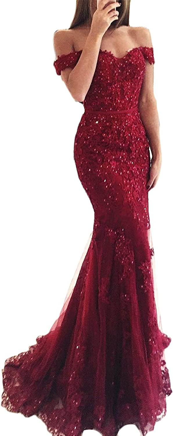 QiJunGe Beaded Appliques Lace Prom Dresses Off Shoulder Formal Evening Gowns