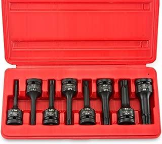 "Neiko 01138B 1/2"" Drive Torx Star Driver Bit Socket Set, T30 to T70 | 8-Piece Set, Cr-Mo, Impact Grade, One-Piece Construction, 3-Inch Length"