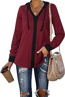 Lotusmile Women's Hooded Tshirt Color Block Lightweight Hoodie Tunic Hoody Tops