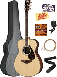 Yamaha FS830 Solid Top Small Body Acoustic Guitar - Natural Bundle with Gig Bag, Tuner, Strings, Strap, Picks, Austin Bazaar Instructional DVD, and Polishing Cloth