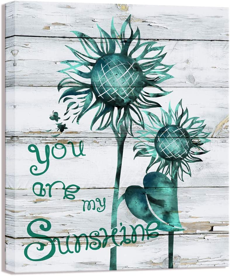 Visual Art Decor Abstract Sunflowers You are My Sunshine Painting Canvas Prints Floral Picture Stretched Wood Textured Retro Poster for Home Living Room Bedroom Bathroom Decoration