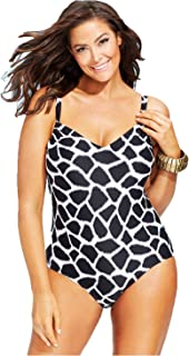 Women's Plus V-Neck Graphic-Print One-Piece Swimsuit