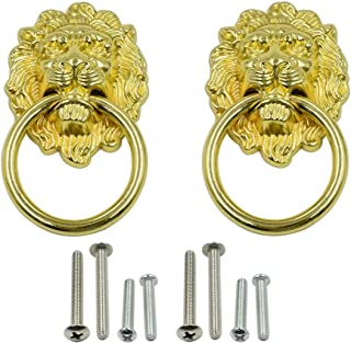 LICTOP 2 Pack 3.54 x 2 Inch Lion Head Knob Pull Handle for Dresser Drawer Cabinet Jewelry Box with Drawer Ring Antique Door Pulls Handle Knobs(Gold)
