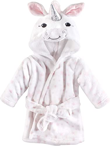 Hudson Baby Unisex Baby Plush Animal Face Robe, White Unicorn, One Size, 0-9 Months