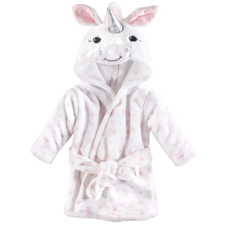 Hudson Baby Unisex Baby Plush Animal Face Robe, White Unicorn, One Size, 0-9 Months