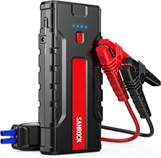 Car Jump Starter, SANROCK Car Battery Charger (8.0L Gas/6.5L Diesel) - 2000A Peak 16000mAh 12V Super Safe Booster Power Pack,Type-C Port, Dual Quick USB Ports, Smart Jumper Cables