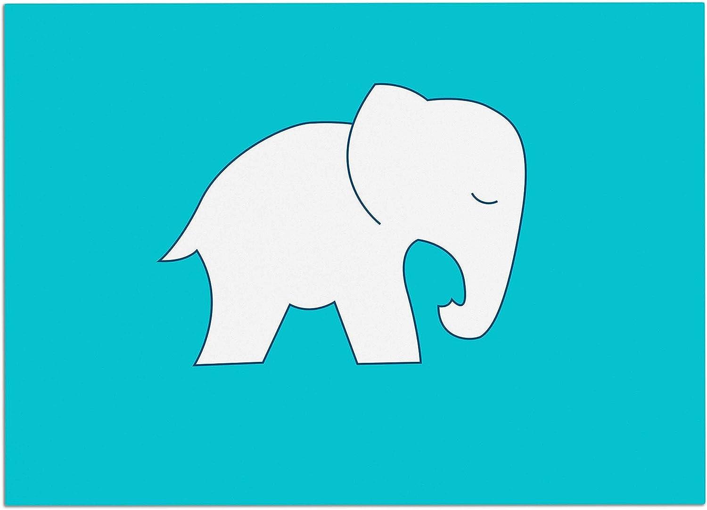 KESS InHouse NL1042ADM02 NL Designs Cute bluee White Elephant Animals bluee Dog Place Mat, 24  x 15