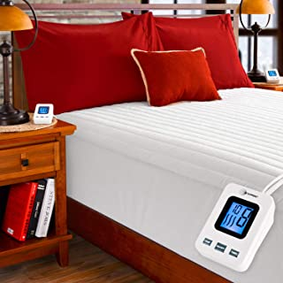 SimplyWarm Electric Heated Channel Quilted Mattress Pad with Sensor-Safe Overheat Technology – New for 2018 HIGH TEC Digital Controller (Twin w/Single Controller)