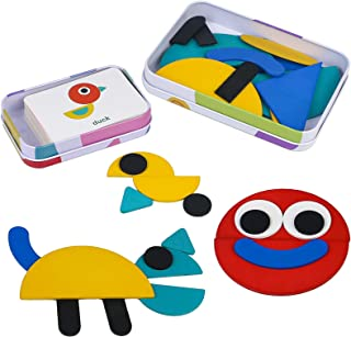 Puzzle en Bois Jouets Casse-tête avec 36 Pièces de Forme 60 Cartes Jouets Montessori Jouets éducatifs Cadeau pour Fille Ga...