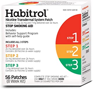 Habitrol Nicotine Transdermal System Patch | Stop Smoking Aid | Steps 1, 2, and 3 (21, 14, and 7 mg) | 56 Patches (8 Week Kit)