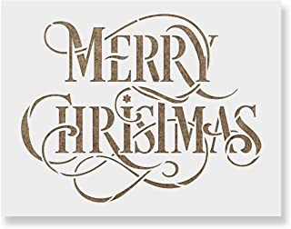 Merry Christmas Stencil - Perfect Stencil for Painting Wood Signs - Reusable Stencils for Christmas