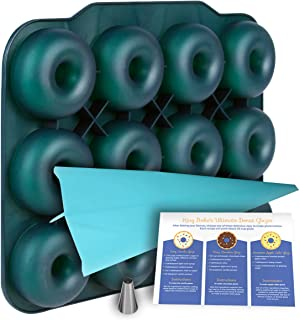 Large Luxury Silicone Donut Pan - BPA-Free, SUPER-NON-STICK, 12 Full Size Doughnut Mold, Bagel Pan with Bonus Pastry Bag and Recipe Card.