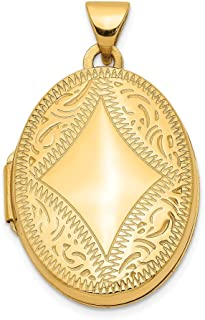 14k Yellow Gold Oval Photo Pendant Charm Locket Chain Necklace That Holds Pictures Fine Jewelry Gifts For Women For Her