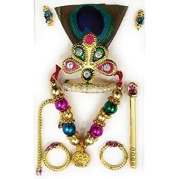Jahnavi Laddu Gopal Mukut Mala Shringar Combo Set with Bansuri, Kundal, Kade & Chhari (6 Items) for Krishna Idol Size 0,1,2 no.(Dress Accessories)