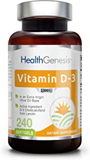 *Flash Sale* Vitamin D3 2000 IU 240 Softgels - High-Potency | Non-GMO | Soy-Free | in Extra Virgin Olive Oil | Strong Bones | Immune Health | Support for K-2