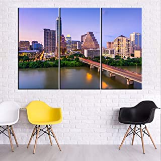 Austin Skyline Tx-USA City Cityscape Canvas Wall Art,Modern Art Work Cityscape Pictures Paintings Art Wall for Bedroom Art Home Decorations Office Decor Ready to Hang - 40'' x 20'' x 3 Panels