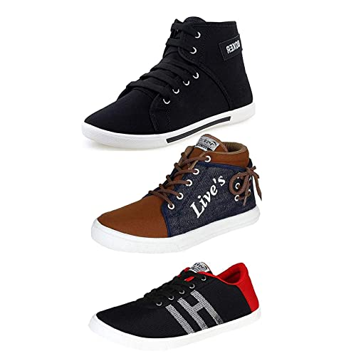 Tempo Men's Synthetic Leather Combo Pack of 3 Sneakers Shoes