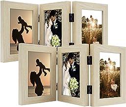 Arte Golden State, moldura decorativa de mesa articulada para foto, 3 aberturas verticais, com vidro real (4 x 6 triplas, ...