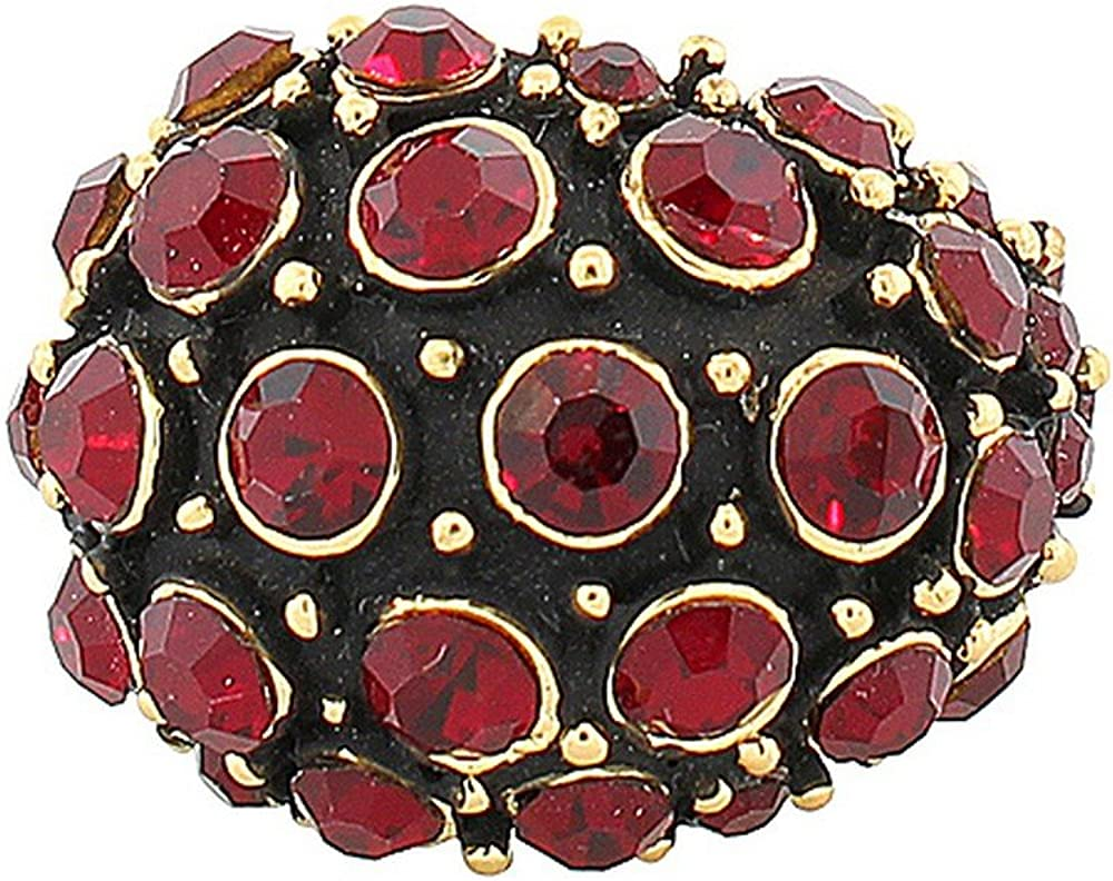 My Daily Styles Fashion Alloy Yellow Gold-Tone Black Red CZ Statement Cocktail Ring
