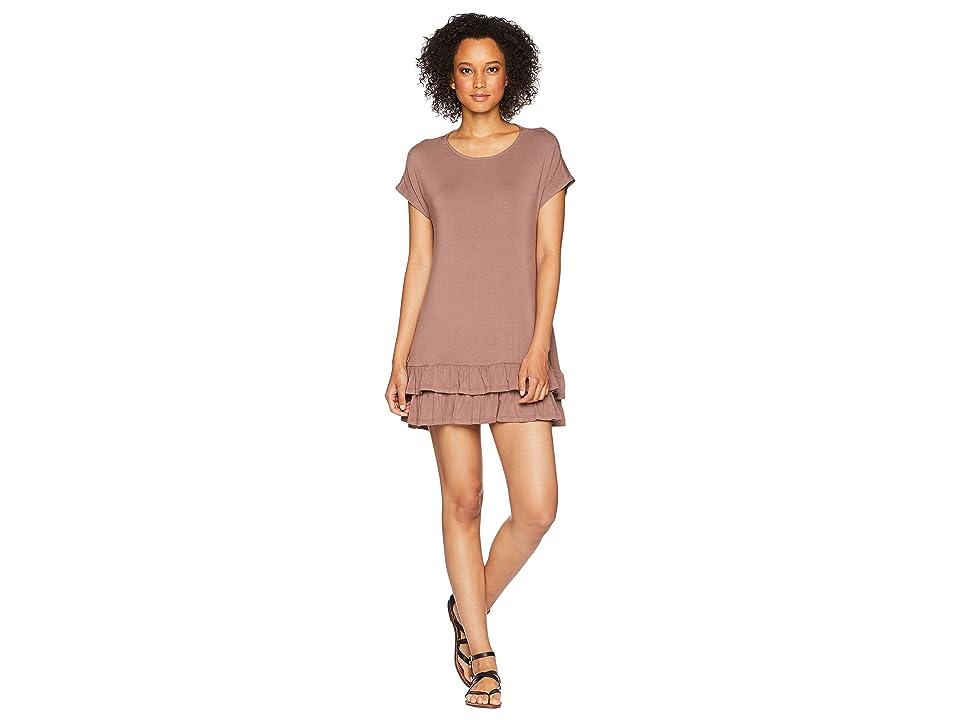 American Rose Andi Short Sleeve Ruffle Bottom Dress (Midnight) Women