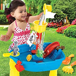 TimiCare Sand & Water Table Outdoor Garden Sandbox Set Play Table Kids Summer Beach Toy