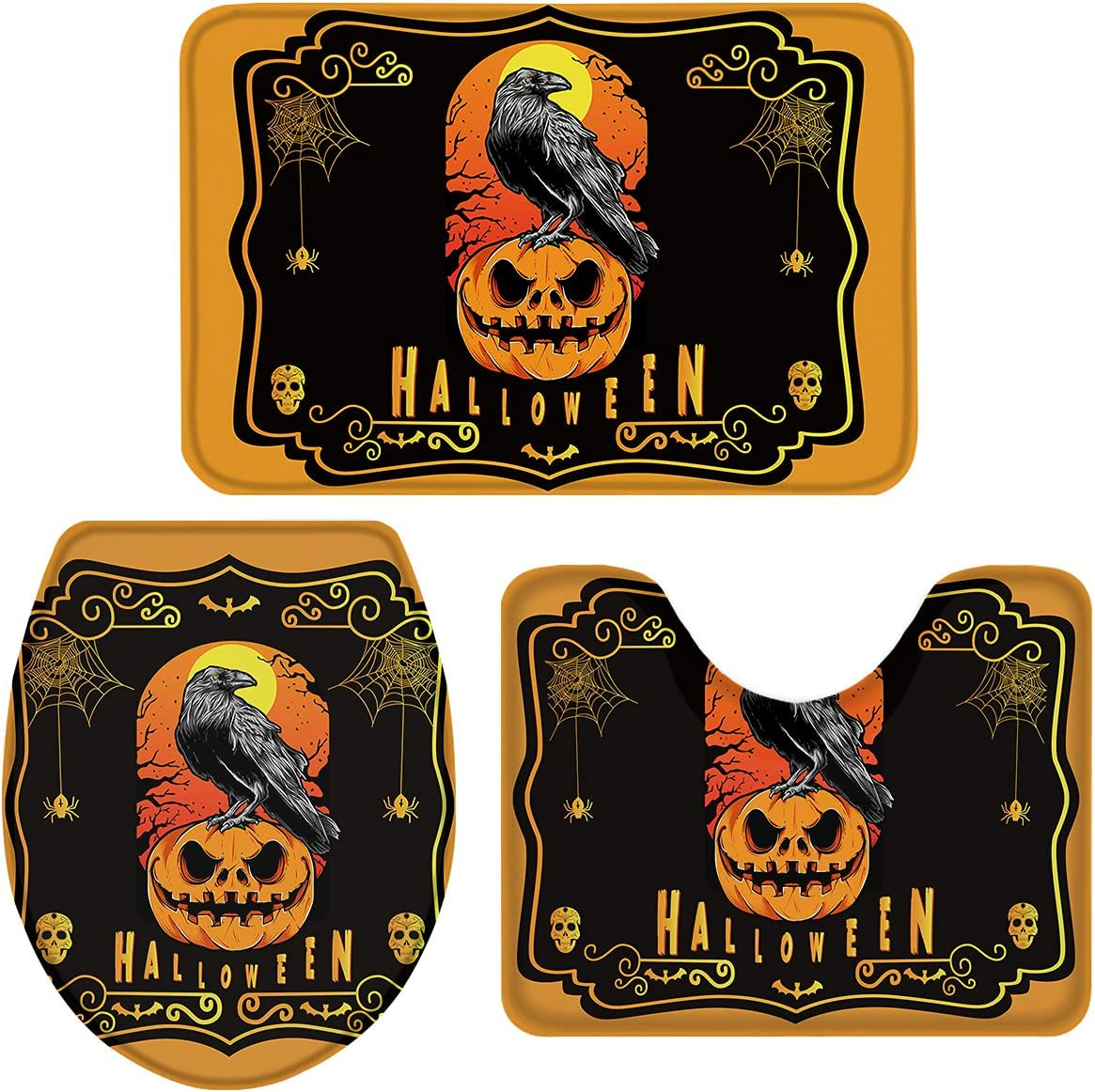 Halloween 3 Piece Many popular brands Bath Rugs Sets Pumpkin The Standing Super sale period limited Ba on Crow