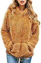 LODDD Women Flannel Long Sleeve Hoodie Sweatshirt Hooded Pullover Shirt Tops Blouse