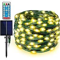Decute Upgraded 108FT Waterproof 1200mAH Solar Fairy Lights Christmas Twinkle Lights 8 Modes & Remote