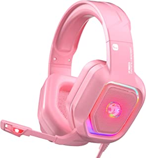 ZIUMIER Z30 Pink Gaming Headset for PS4, PS5, Xbox One, PC, Wired Over-Ear Headphone with Noise...