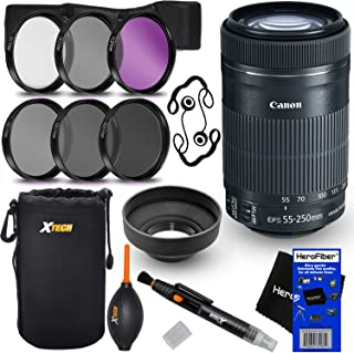 Canon EF-S 55-250mm F4-5.6 is STM Lens for Canon SLR Cameras (International Version) + ND Filters ND2, ND4, ND8 + 11pc Bundle Deluxe Accessory Kit w/HeroFiber Cleaning Cloth