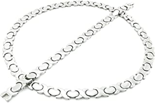 New 11mm Width Womens Silver Tone XOXO Stampato Necklace and Bracelet Set 18/20