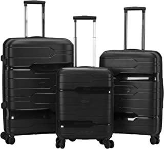 Rockland Linear 3-Piece Hardside Spinner Wheel Luggage Set, Black, (19/23/27)