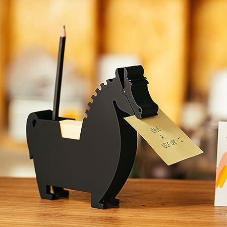 Porte-mémo de bureau - Distributeur de bloc-notes - Porte-stylo - Porte-stylo - Clip multifonction - Pour bloc-notes court - 2 paquets de mémo (cheval noir)