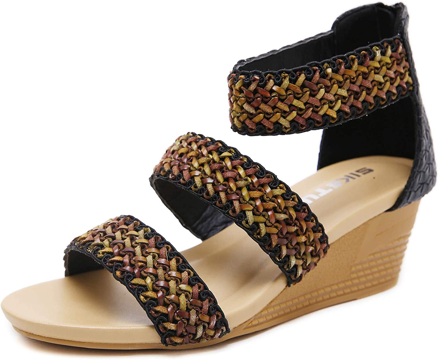 Memorygou Women Wedge Sandals - Bohemian Vintage Style Ankle Back Zipper Braided Faux Leather Sandals Sequin