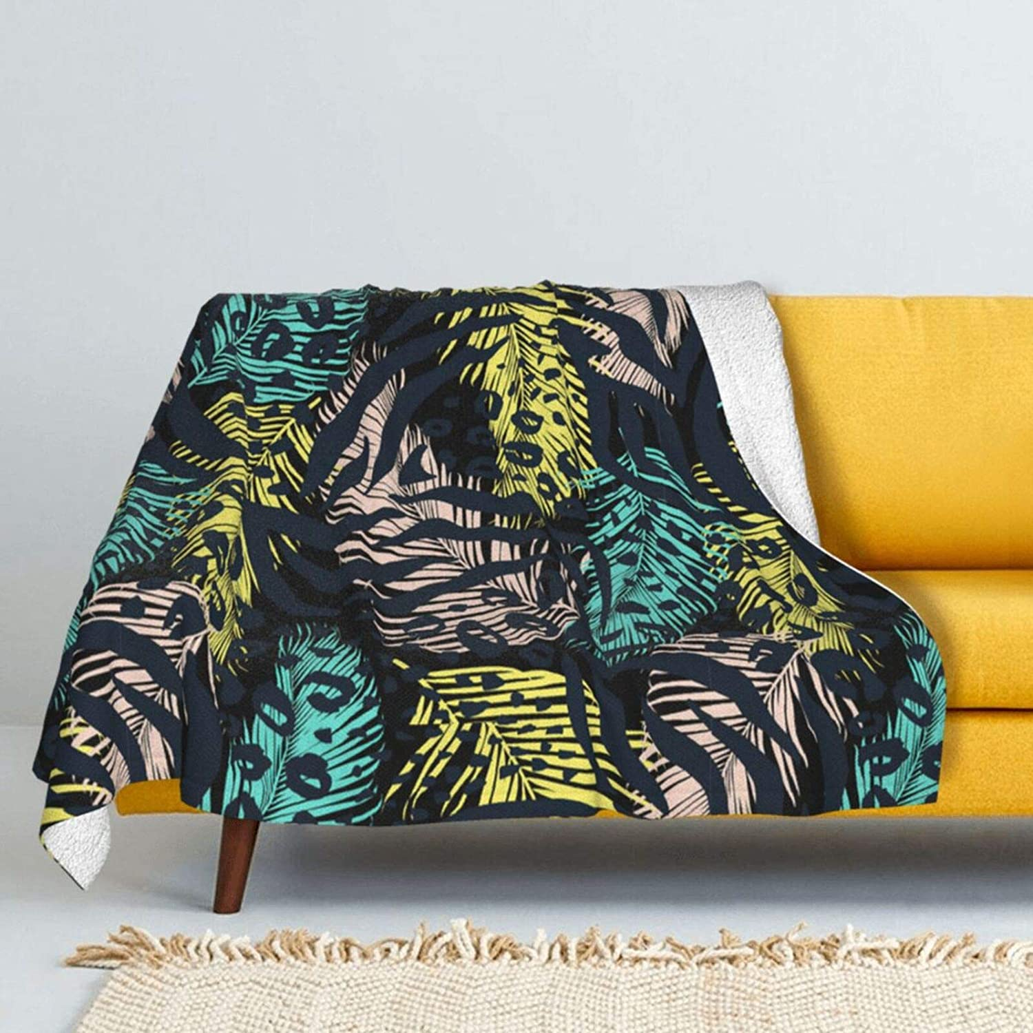 Atlanta Mall Tropical Palm Leaves Max 73% OFF Lamb Wool Soft Double-S Super Throw Blanket