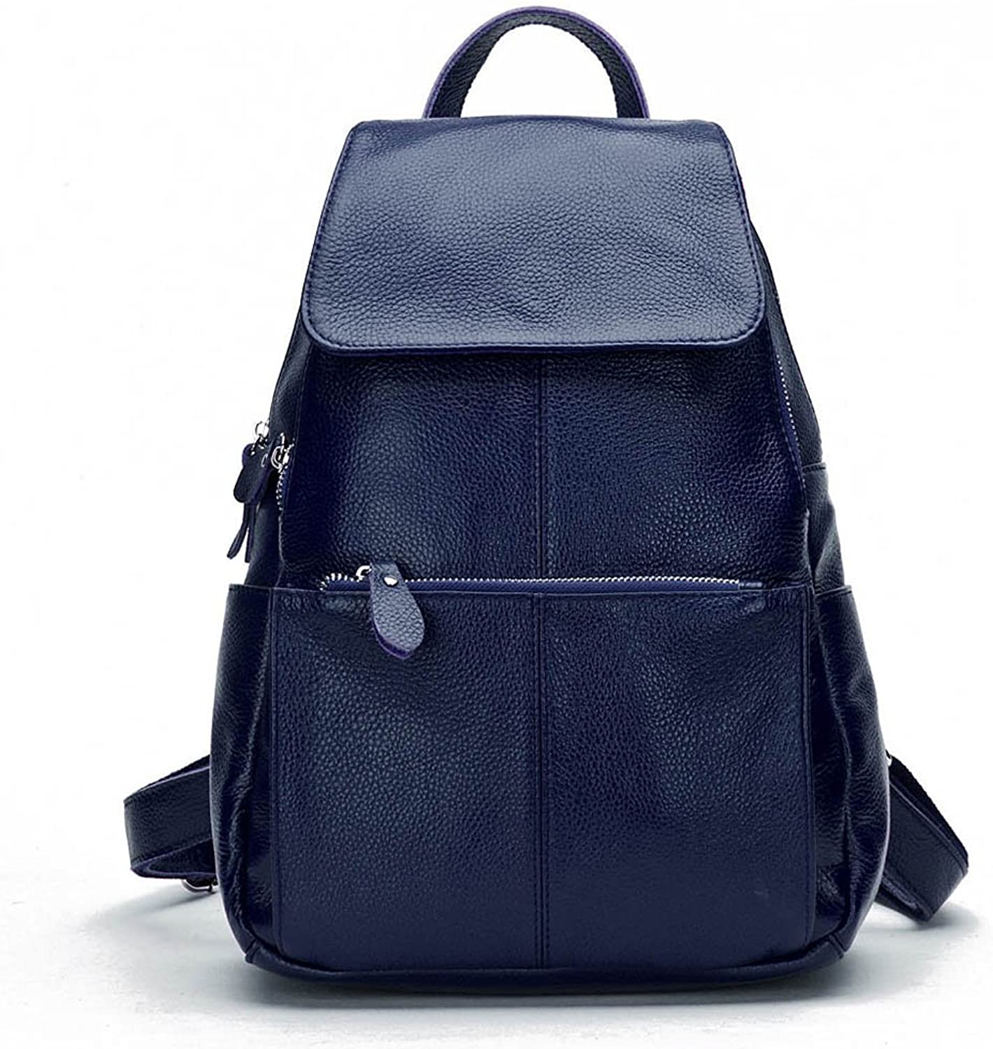 15 colors Real Soft Leather Women Backpack Fashion Ladies Travel Bag Preppy Style Schoolbags For Girls (Dark bluee)
