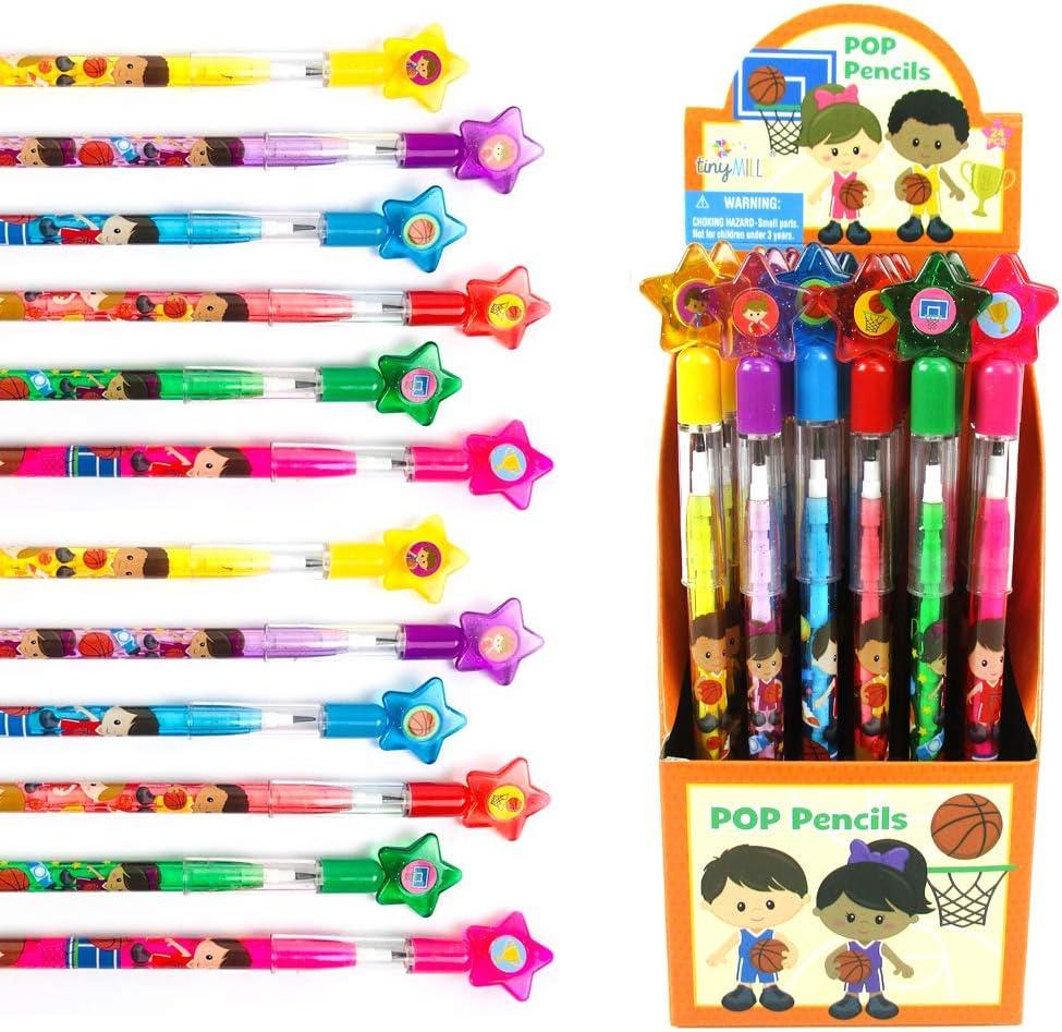 TINYMILLS 24 Pcs Basketball Stackable sale Brand Cheap Sale Venue Pencil wit Push Assortment