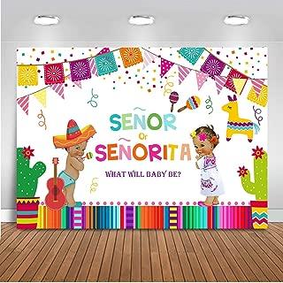 Mehofoto Mexican Fiesta Gender Reveal Baby Shower Backdrop Senor or Senorita Background 7x5ft Vinyl Fiesta Gender Reveal Baby Shower Party Banner Supplies