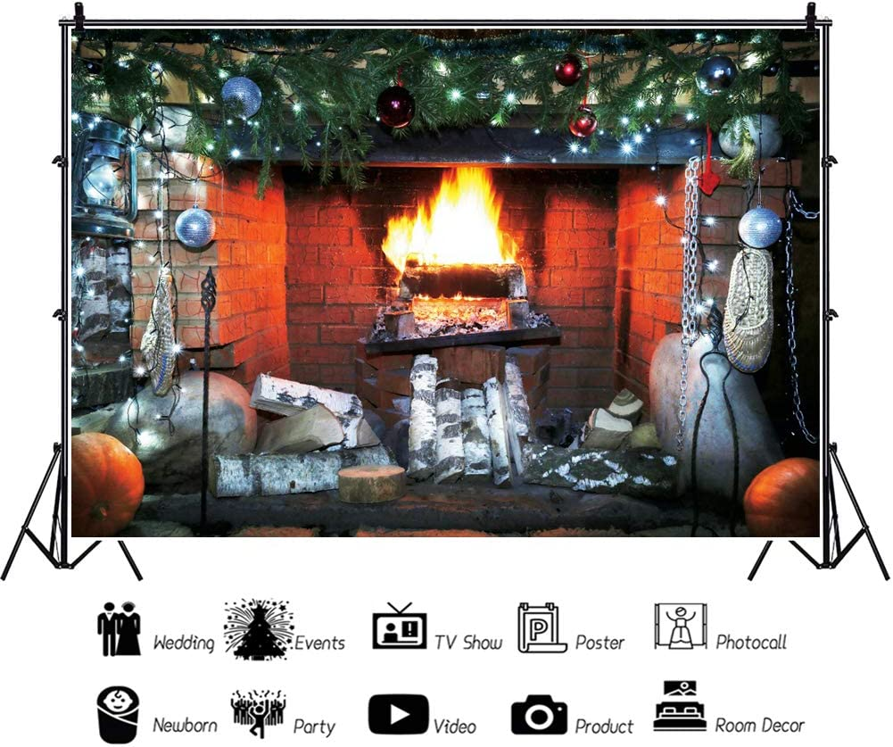 Leowefowa Christmas Backdrop for Photography 12x8ft Vinyl Old Fireplace Sooty Hearth Burning Firewoods Pine Decors Rattan Shoes Background Child Adult Photo Shoot Christmas Party Banner Photo Props