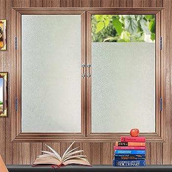 Zindoo Pellicola Privacy Non Adesiva per Vetro Decorative Anti-UV Frosted Pellicola per finestre,per Ufficio Bagno Camera da Letto Sala di Riunione 44.5cm x 200cm