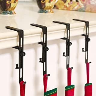 GLY 2019 Christmas Stocking Garland Adjustable Holder Hook Hanger Fireplace Two Hooks for Dual Purpose Gold and Silver Plating- 4 Pack