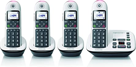 Motorola CD5014 DECT 6.0 Cordless Phone with Answering Machine, Call Block and Volume Boost, White, 4 Handsets
