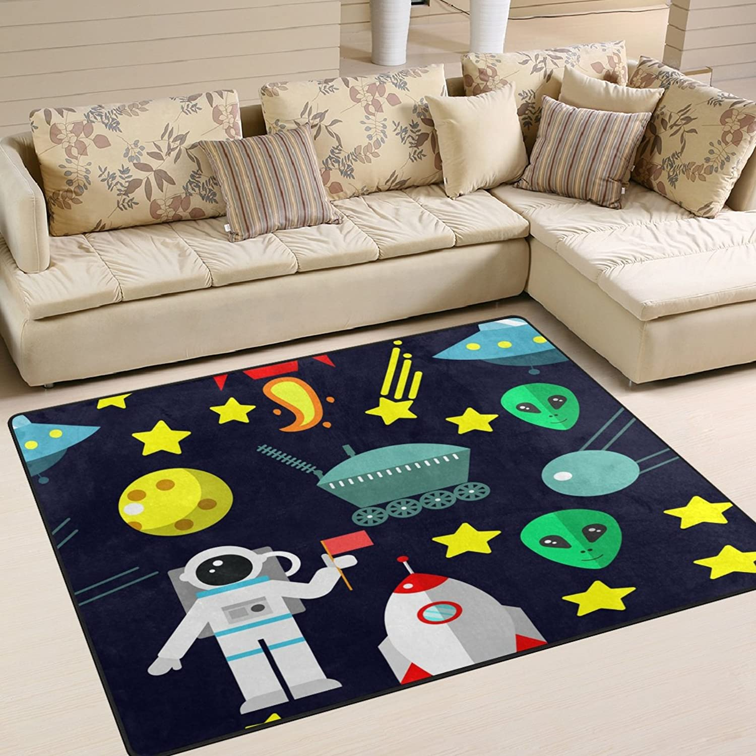 ALAZA Cartoon Space Rockets Comet Universe Star Area Rug Rugs for Living Room Bedroom 7' x 5'