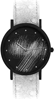 South Lane Swiss Quartz Stainless Steel and Leather Casual Watch, Color:Black (Model: core-SL-224)