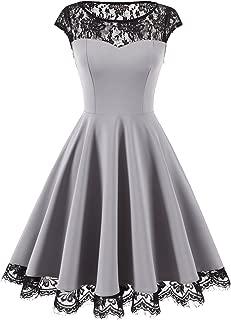Women's Vintage 1950s Floral Lace Scoop Neck Cap Sleeve Cocktail Party Dress
