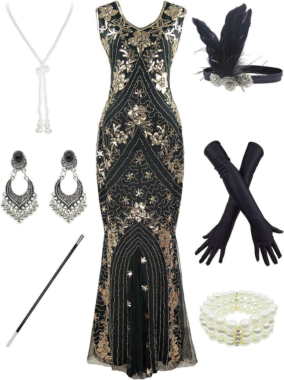 Women 1920S Gatsby 舗 Sequin Mermaid Dress 品質検査済 Formal Evening with 20s