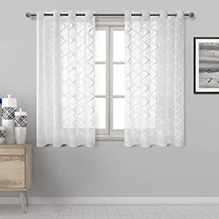 DWCN Lace White Sheer Curtains - Grommet Top Geometric Pattern Faux Linen Semi Voile Drapes Bedroom and Kitchen Short Curtains, 52 x 45 Inch Length, Set of 2 Window Curtains Panels