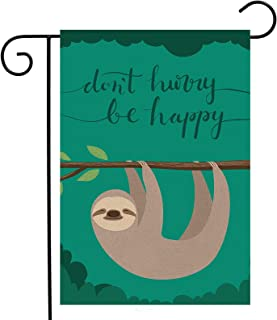 "Funny Cute Lovely Animal Sloth Garden Yard Flag 12""x 18"" Double Sided, Wildlife Tree Brunch Don't Hurry Be Happy Polyester..."